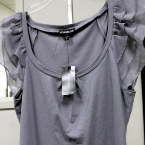 Express Sheer S/Sleeve Top T-Shirt sz XS Gray NWT